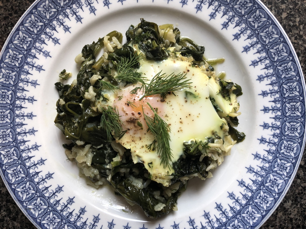 Poached Egg Over Rice Spinach
