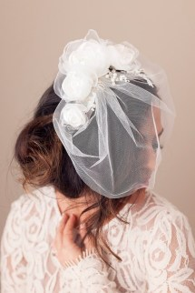 Tulle Birdcage Veil with Eta Rose Crescent