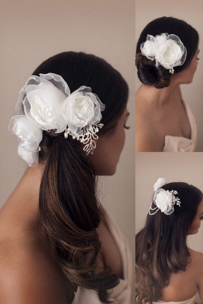 bridal hair flowers, wedding flower headpiece