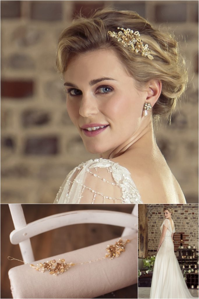 Vintage style wedding dress with gold flower headpiece