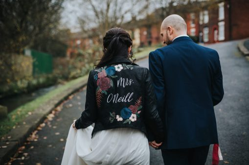 painted leather wedding jacket UK