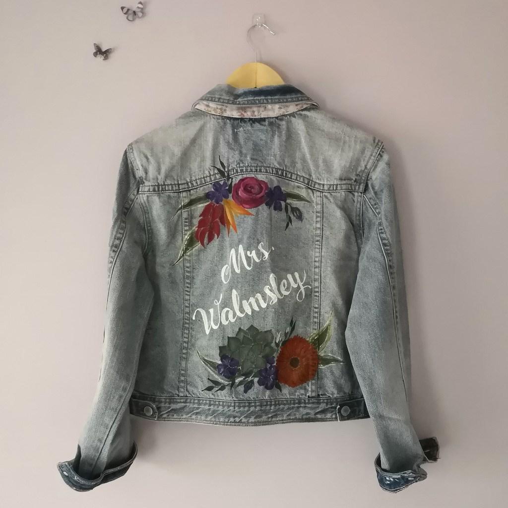 bespoke calligraphy floral bridal denim jacket