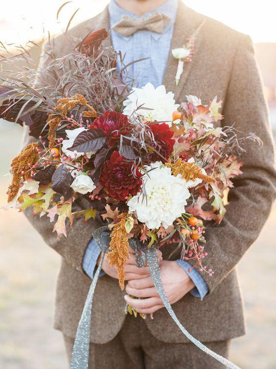 Rustic Bridal Bouquet Groom