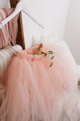 peach tutu flower girl skirt