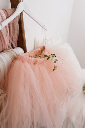 peach tutu flower girl skirt