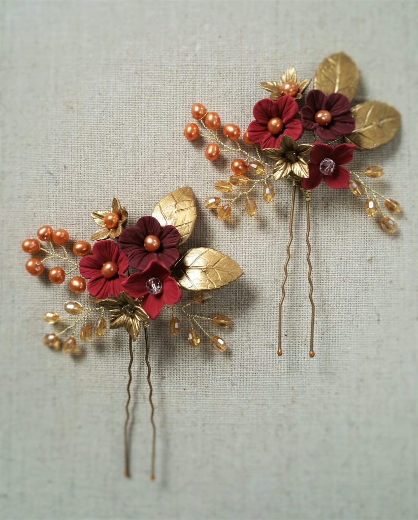 Red gold flower hair Pin