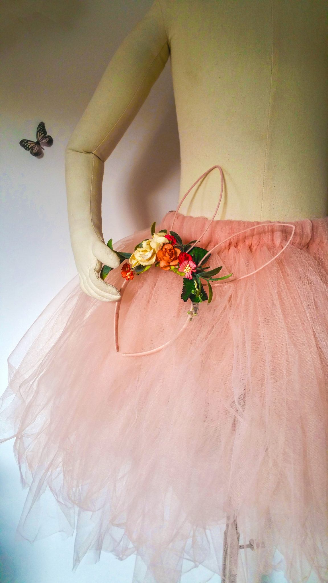 peach flower girl dress and head band