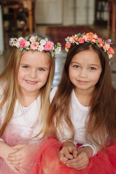 bridesmaids flower crown pink