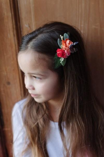 flower girls hair clips custom colours