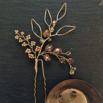 gold bridal hair pin