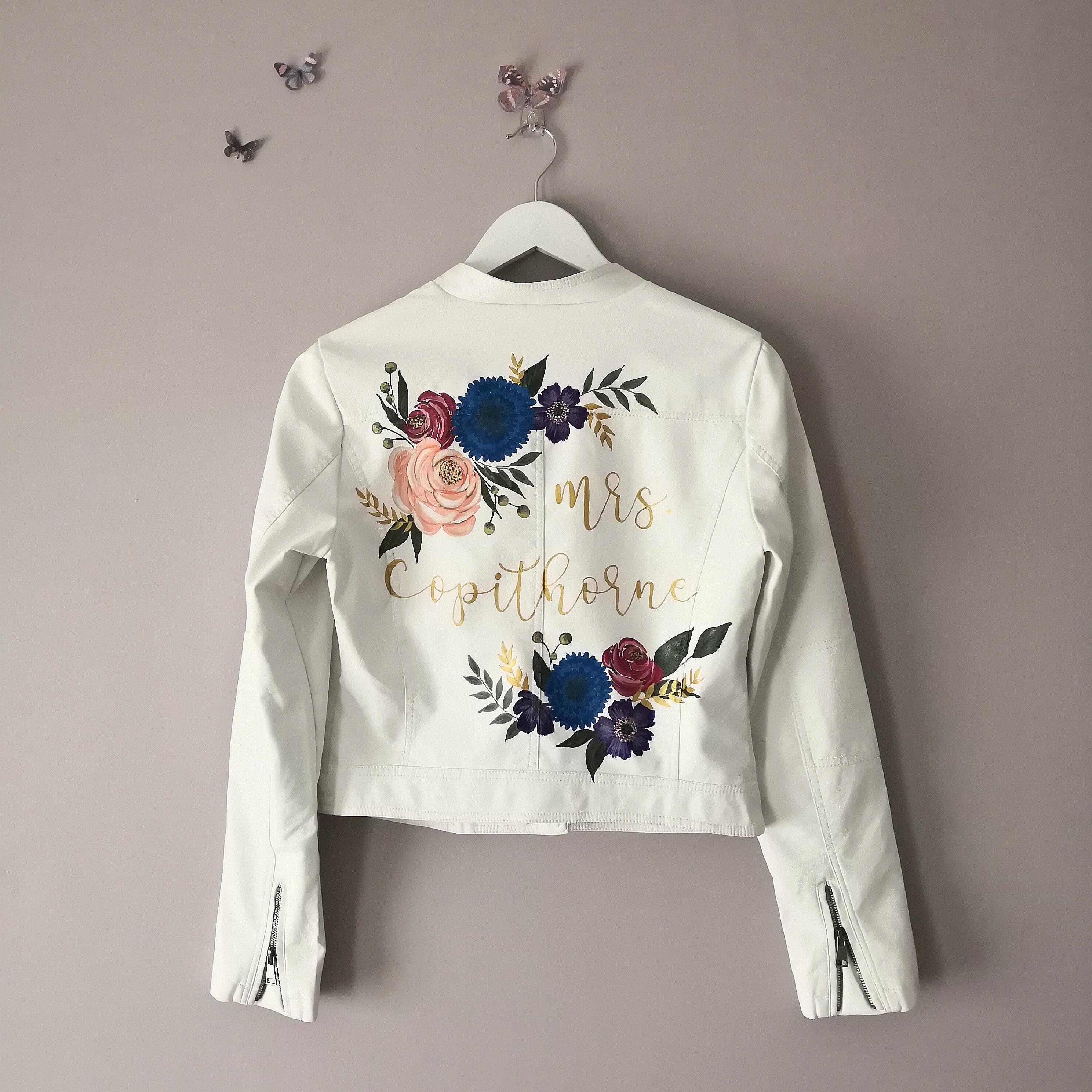 Wedding Dress White Leather Jacket: Wedding Denim Jacket Hand Painted Calligraphy Bespoke UK