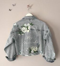 handpainted denim bridal jacket