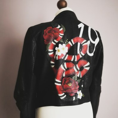 Red Snake painted leather jacket
