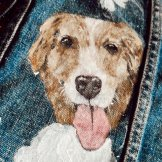 custom dog painting on denim wedding jacket