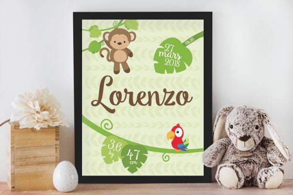 Affiche de naissance personnalisée pour chambre de bébé ou enfant - Cadeau de naissance, affiche jungle