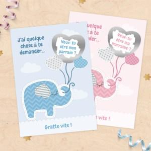 Carte à gratter demande de parrain/marraine, cadeaux parrain et marraine pour baptême - Collection doudou éléphant