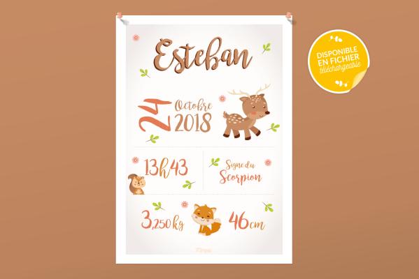 Affiche de naissance personnalisée pour chambre de bébé ou enfant - Cadeau de naissance, affiche Animaux d'Automne