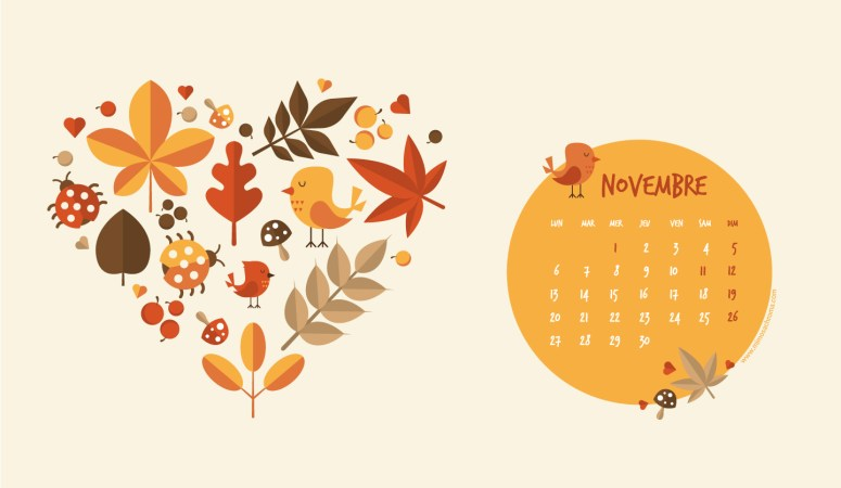 Calendrier de Novembre 2017 (Freebies & Printable)