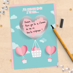 Carte à gratter personnalisable annonce grossesse, mariage, demande de témoin, demande en mariage - saint valentin