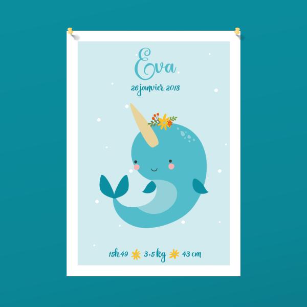 Affiche personnalisée chambre d'enfant, à imprimer soi-même - Cadeau de naissance, affiche narval, licorne des mers
