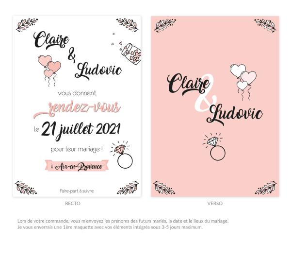 """Faire-part de mariage """"Save the Date"""" personnalisé - Collection douceur romantique"""