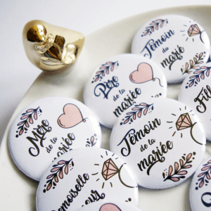 Badges de mariage pour témoins et famille - Collection douceur romantique