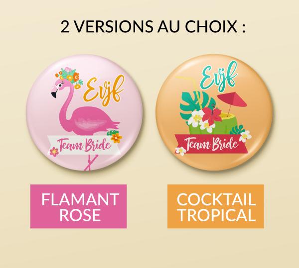Badge pour EVJF - Equipe de la mariée, badge mariage, enterrement de vie de jeune fille - Flamant rose, Tropical