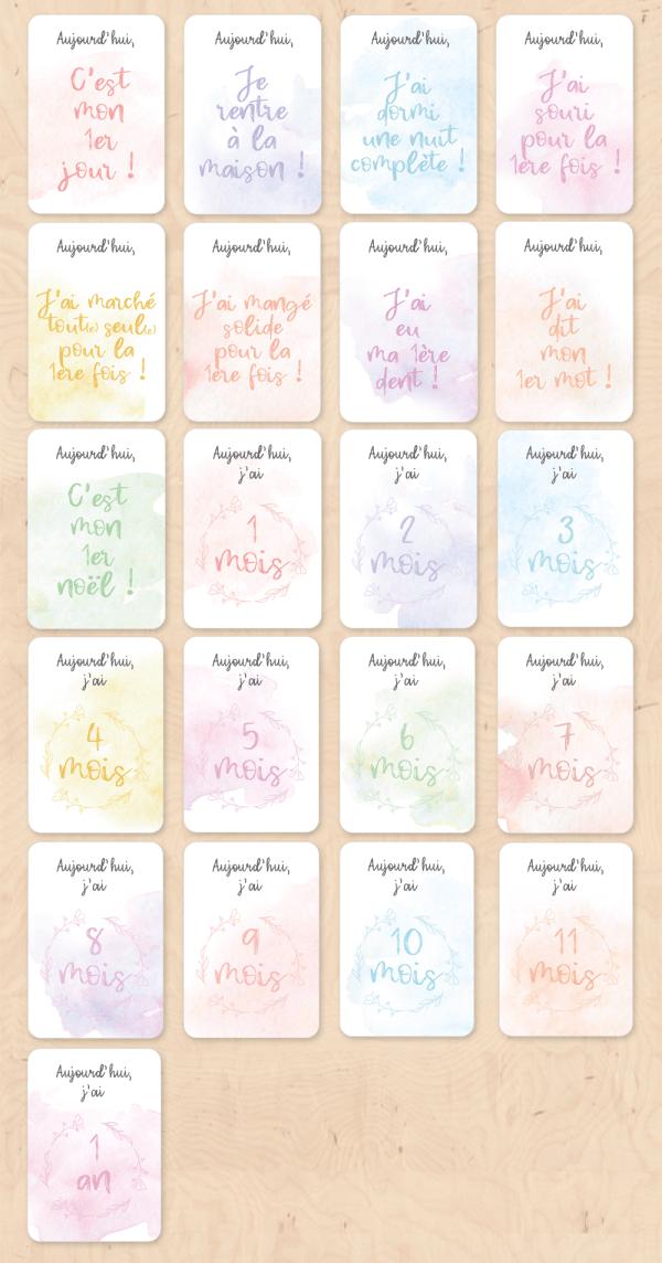 Cartes étapes de la vie de bébé (Milestones baby cards) - Cadeau de naissance, cadeau future maman, cadeau bébé