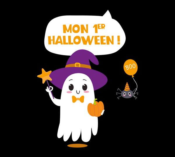 "Body bébé Halloween ""Mon 1er Halloween"", fantôme et araignée"
