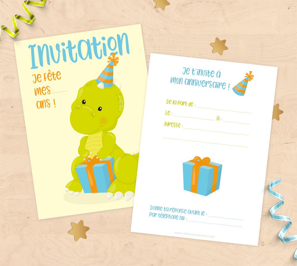 Belle Cartons d'invitation anniversaire enfant – Thème dinosaure avec LM-84