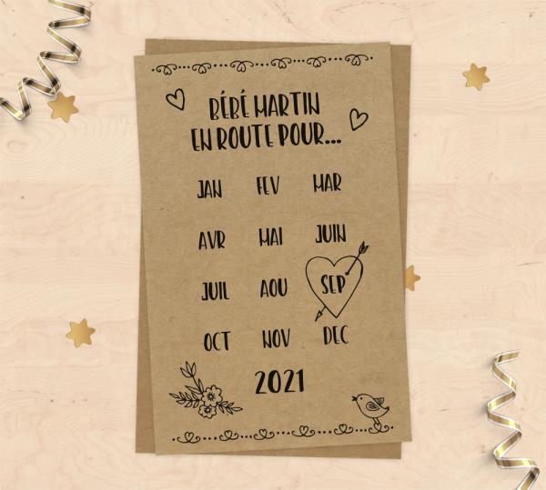 Mini carte annonce de grossesse à personnaliser - Style Save the Date
