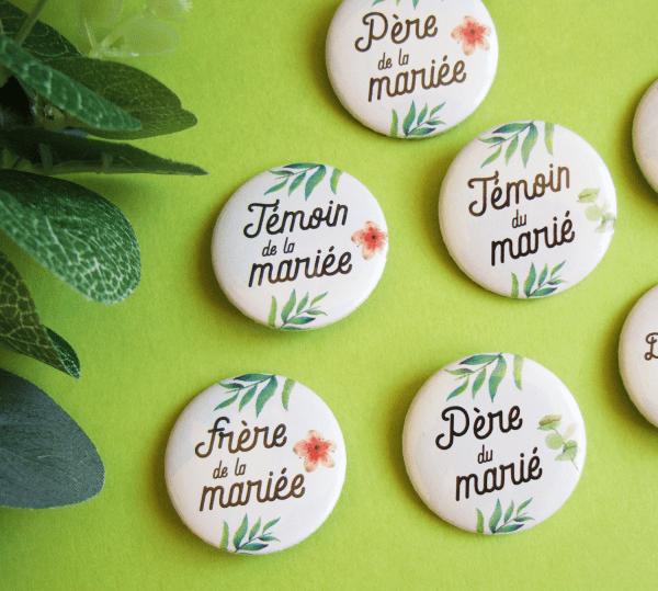 Badges de mariage pour témoins et famille - Collection végétale