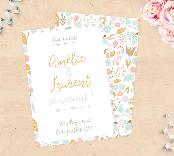 Save the date - Faire-part de mariage - Pastel