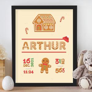 Affiche de naissance personnalisée pour chambre de bébé ou enfant - Cadeau de naissance, affiche Noël