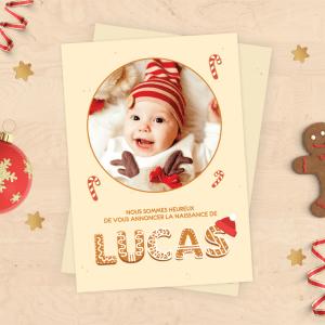 Faire-part de naissance pour bébé de Noël - Collection Pain d'épices