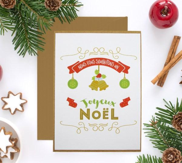 Carte de Noël et nouvel an papier irisé et kraft - Carte de voeux noel traditionnel