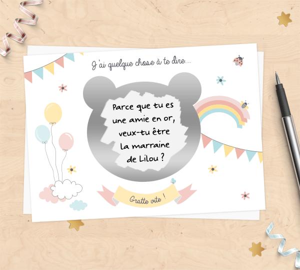 Carte à gratter à personnaliser pour demande de parrain/marraine, annonce grossesse - Nounours