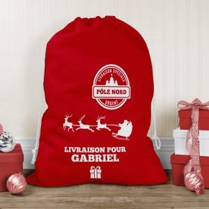 Hotte de Noël personnalisable, sac à cadeaux, hotte du Père Noël