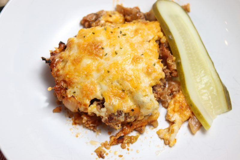 Bacon Cheeseburger Casserole Recipe | An easy low carb ground beef casserole #keto #lowcarb | mincerepublic.com