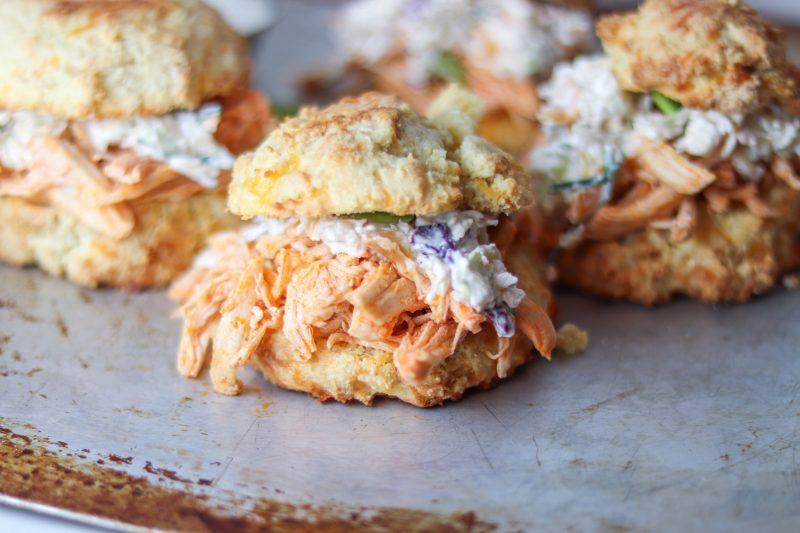 Buffalo Chicken Biscuit Sandwiches with Slaw Recipe | #keto #lowcarb buffalo chicken sandwich recipe | mincerepublic.com