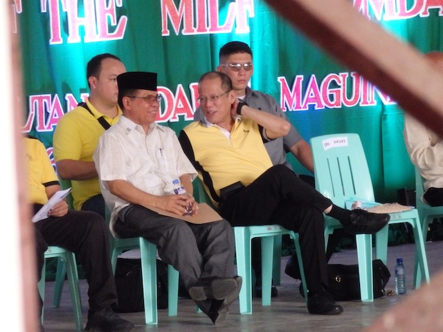 PARTNERS IN PEACE. President Benigno Simeon Aquino III and MILF chair Al Haj Murad Ebrahim on stage at the ceremonial decommissioning on Tuesday at the gymnasium of the old Maguindanao Capitol in Simuay, Sultan Kudarat, Maguindanao. MindaNews photo by Carolyn O. Arguillas