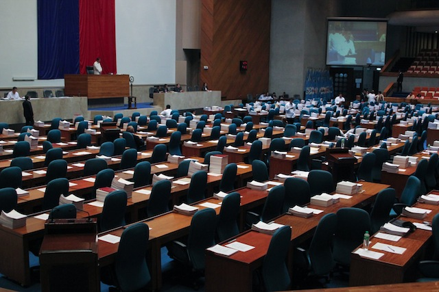 ALMOST EMPTY. The plenary hall of the House of Representatives is almost empty as the debate on House Bill 5811 or the Basic Law for the Bangsamoro Autonomous Region continued in this photo taken morning of June 10, 2015. The period of interpellation was suspended as Congress adjourned sine die that night. It will resume interpellation on August 4. MindaNews file photo by Toto Lozano