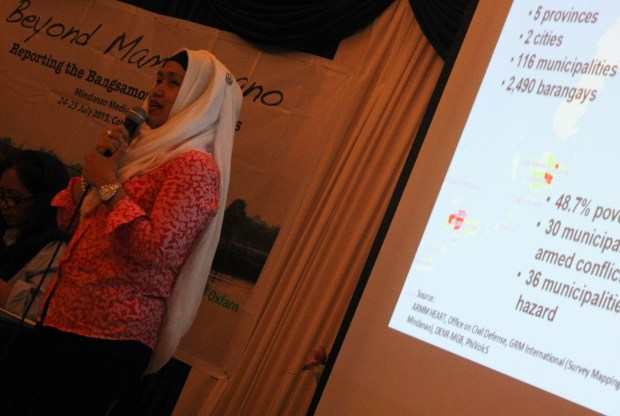 Lawyer Laisa Masuhod-Alamia, Autonomous Region in Muslim Mindanao executive secretary shares the  prospects and challenges in the Bangsamoro peace process during at Mindanao Media Forum in Cotabato City on July 24, 2015. MindaNews photo by Toto Lozano