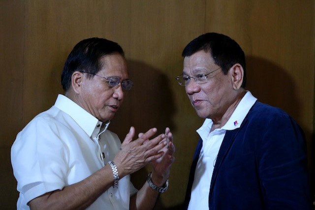 President Rodrigo Duterte speaks with Secretary Jesus Dureza of the Office of the Presidential Adviser on the Peace Process after the presentation of the Peace Roadmap at the State Dining Room of the Malacañan Palace on Monday evening, July 18, 2016. ACE MORANDANTE/PPD