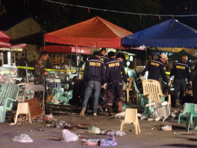 ONE BLAST, 13 KILLED. In the aftermath of the explosion at the night market along Roxas Avenue at around 9:50 p.m. Friday, 02 September 2016: Ten dead. Three more expired at the hospital as of 2 a.m. Sixty three others were rushed to five hospitals for treatment of injuries, a number of them in critical condition. MindaNews photo by Carolyn O. Arguillas
