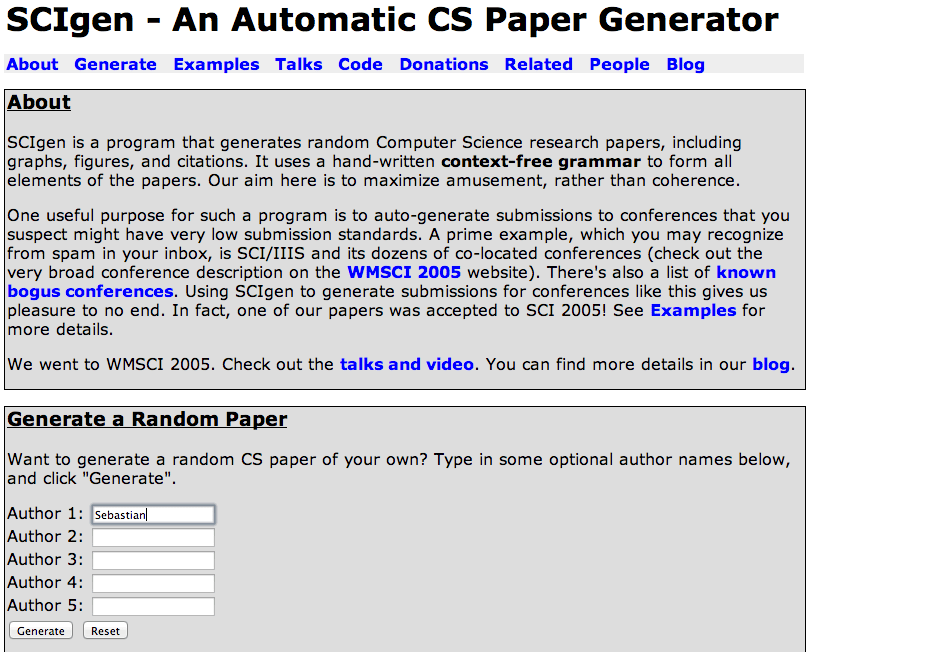 scigen - create your own academic paper