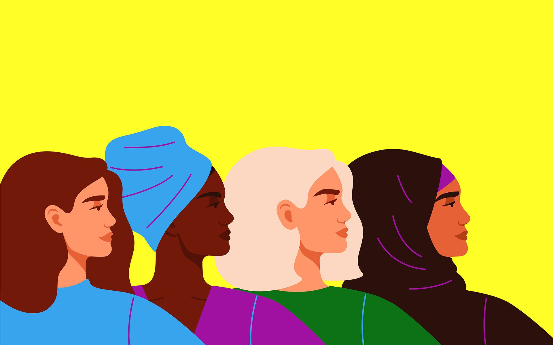 An illustration of the profile of four diverse women from the shoulder-up. All are looking toward the right of the frame and the background is yellow.