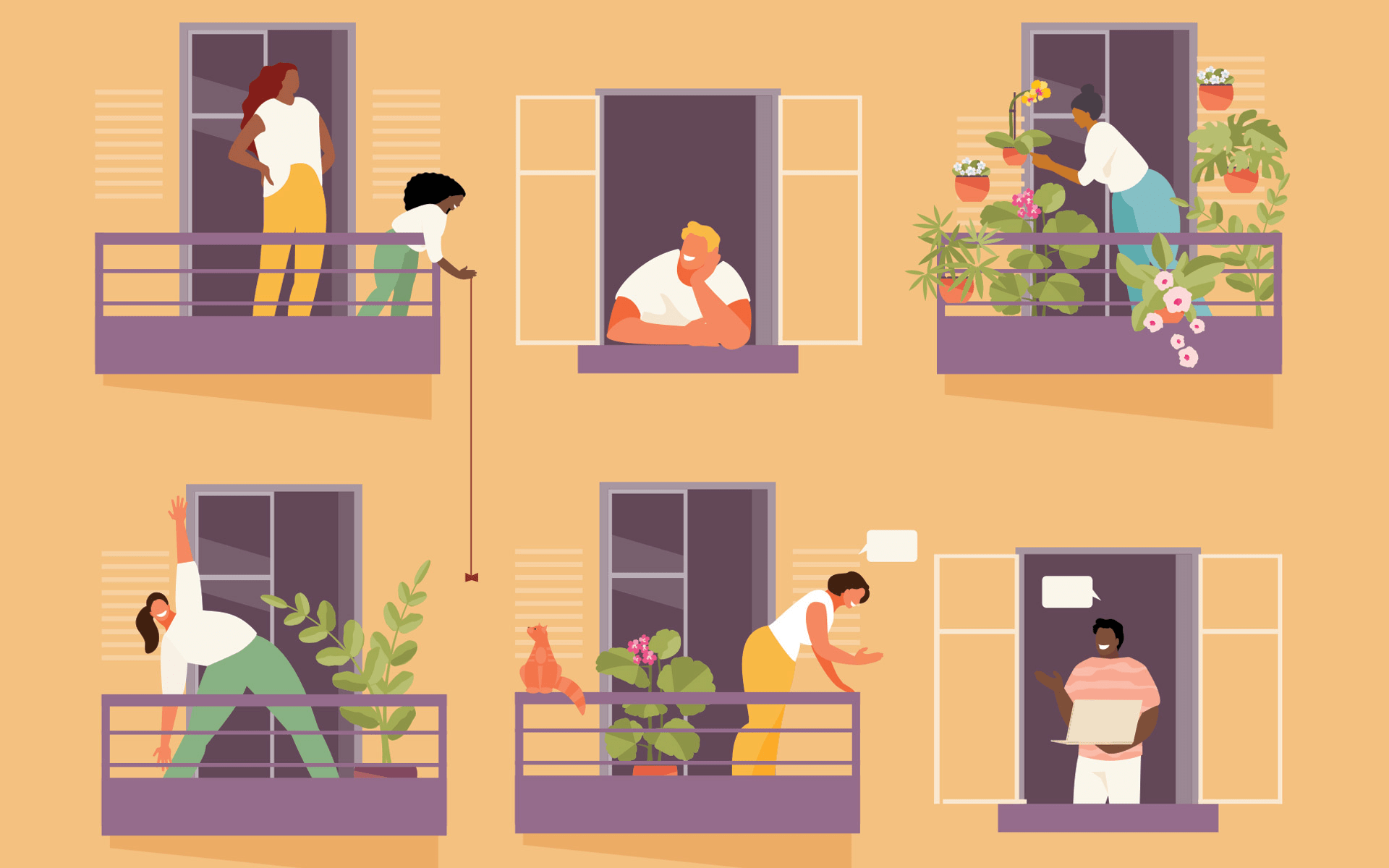 10 Mindfulness Tips for Every Day—Illustration of a yellow apartment building where people are doing various activities on their balconies.