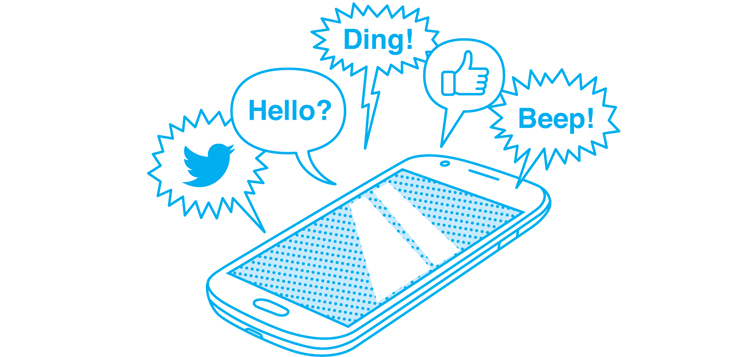 illustration of phone buzzing with messages