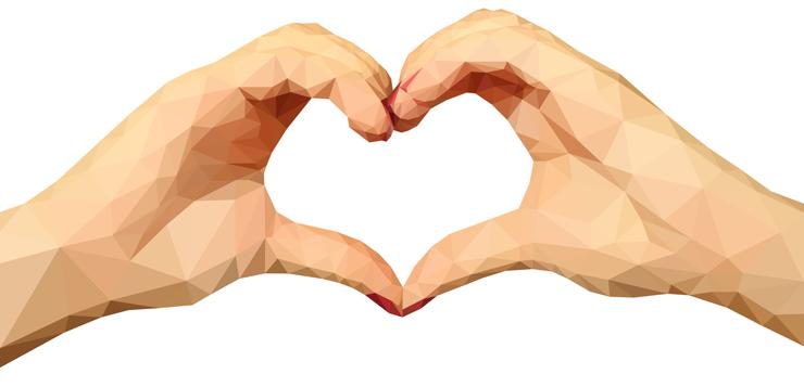 illustration of hands holding heart shape